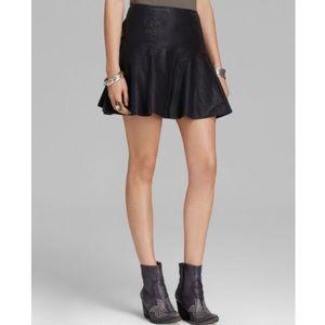 Free People Black Leather Ruffle Skirt